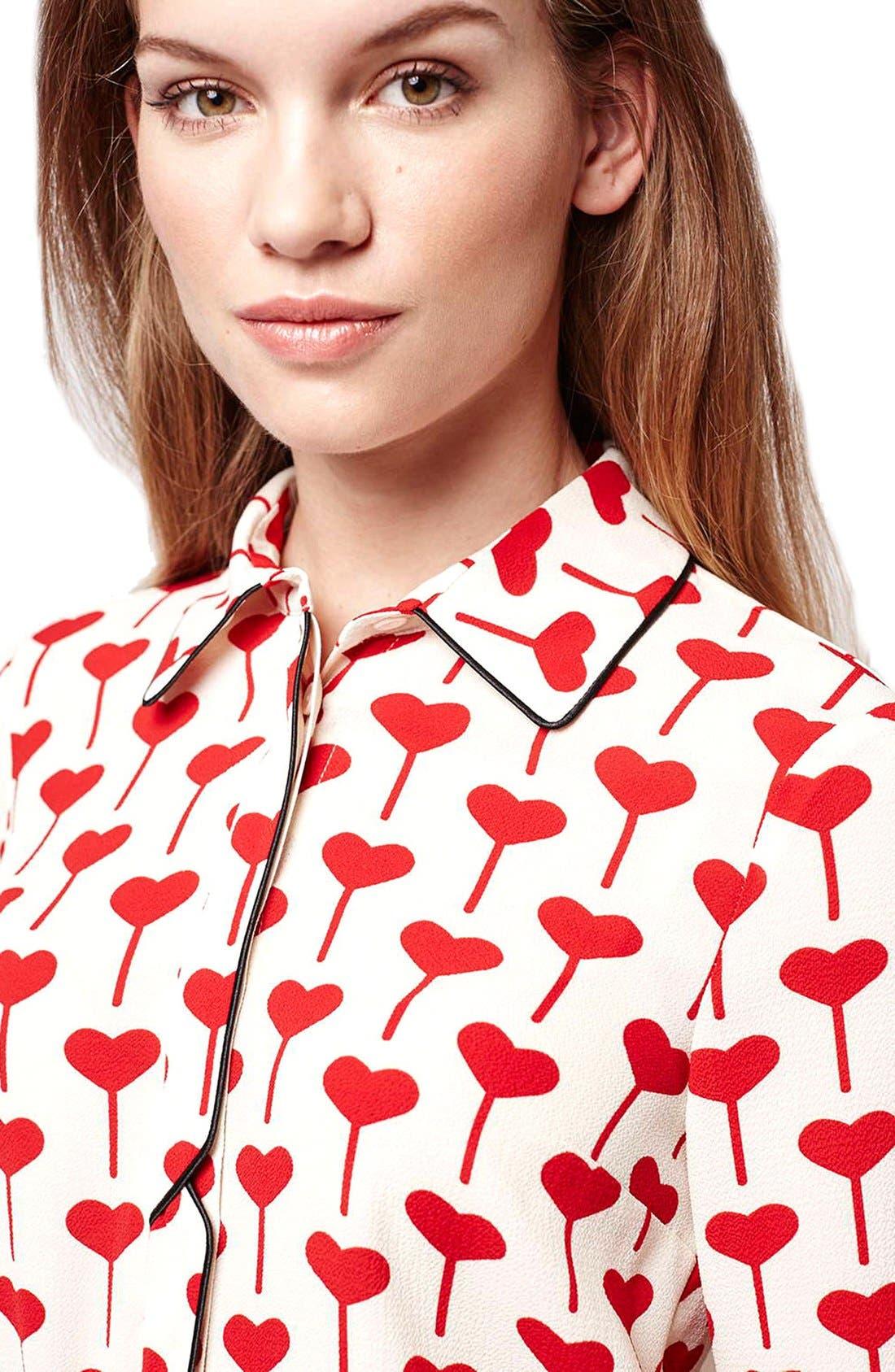 Alternate Image 5  - Topshop Heart Print Blouse