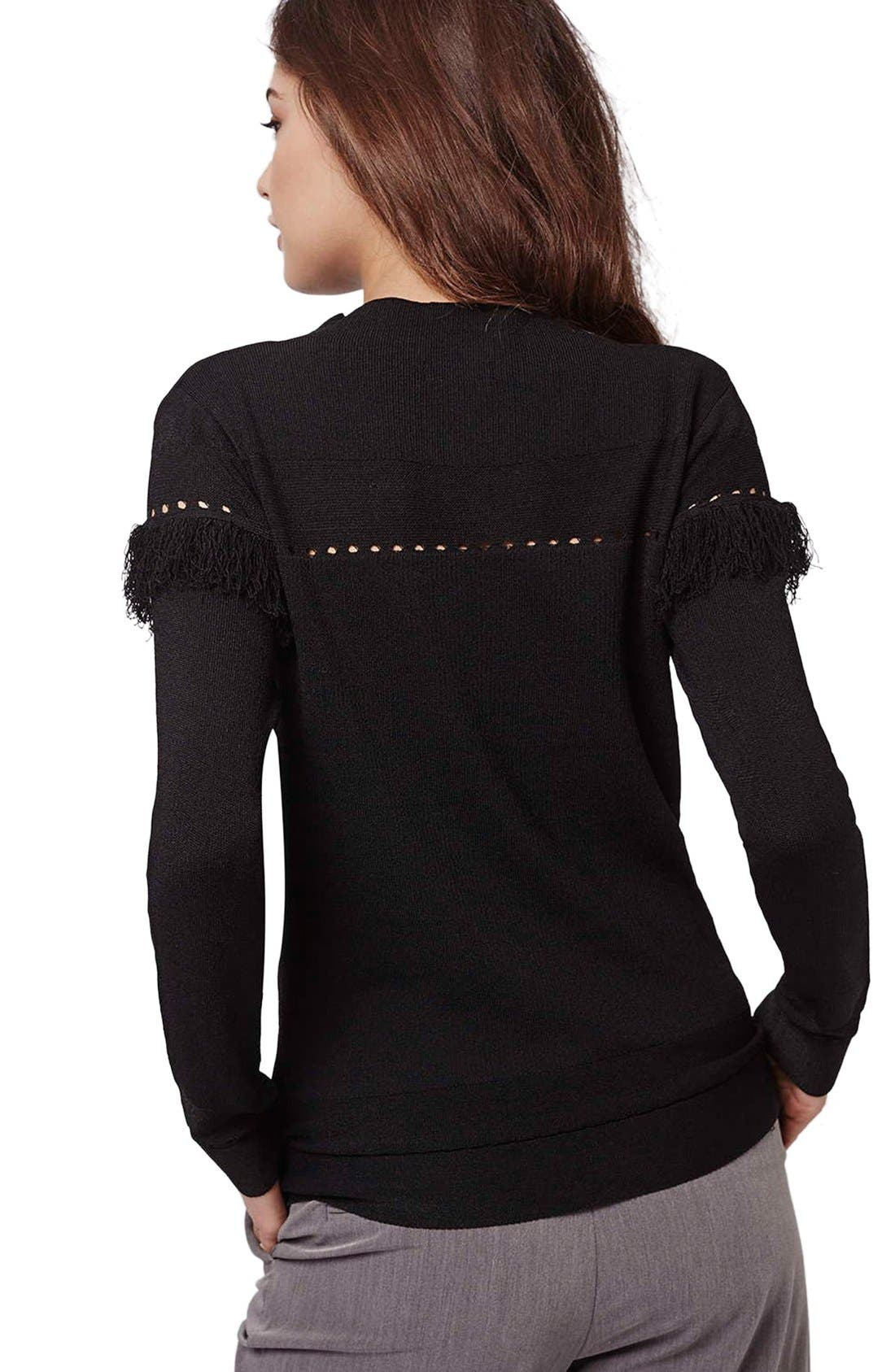 Alternate Image 3  - Topshop Perforated Fringe Sweater