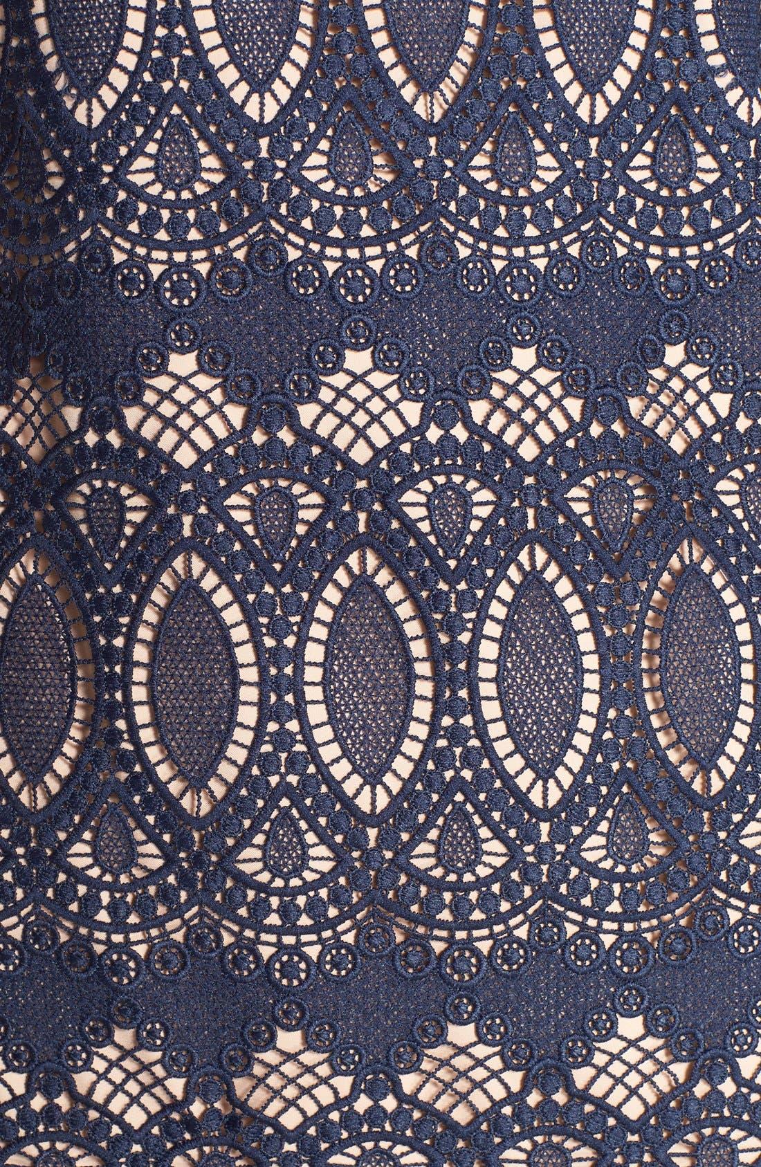 Alternate Image 6  - Eliza J Scalloped Lace Sheath Dress (Regular & Petite)