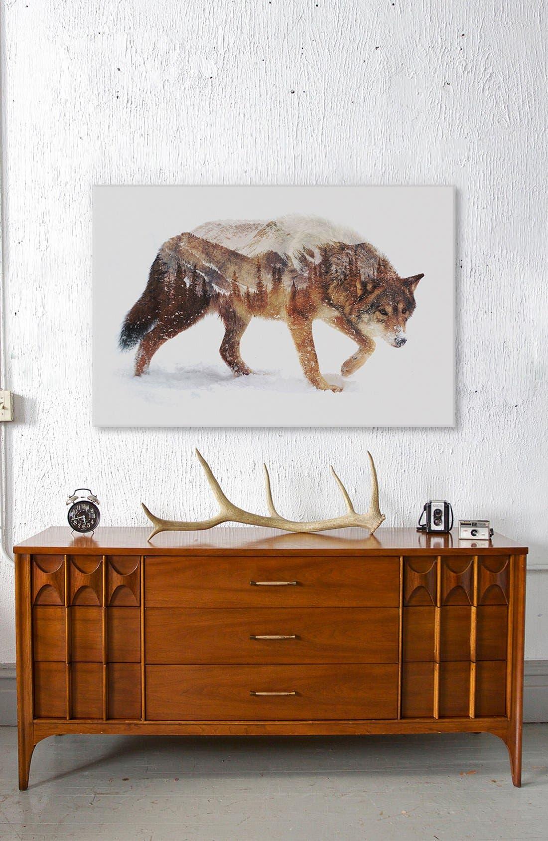 Alternate Image 2  - iCanvas 'Arctic Wolf' Leather Art Print
