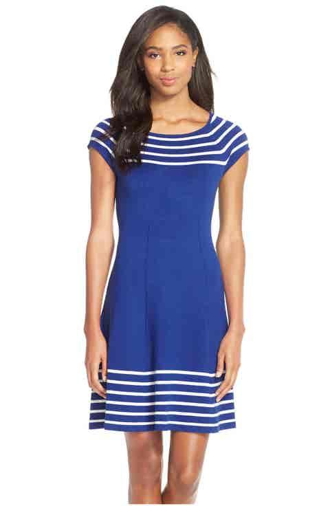 Eliza J Stripe Knit Flared Dress
