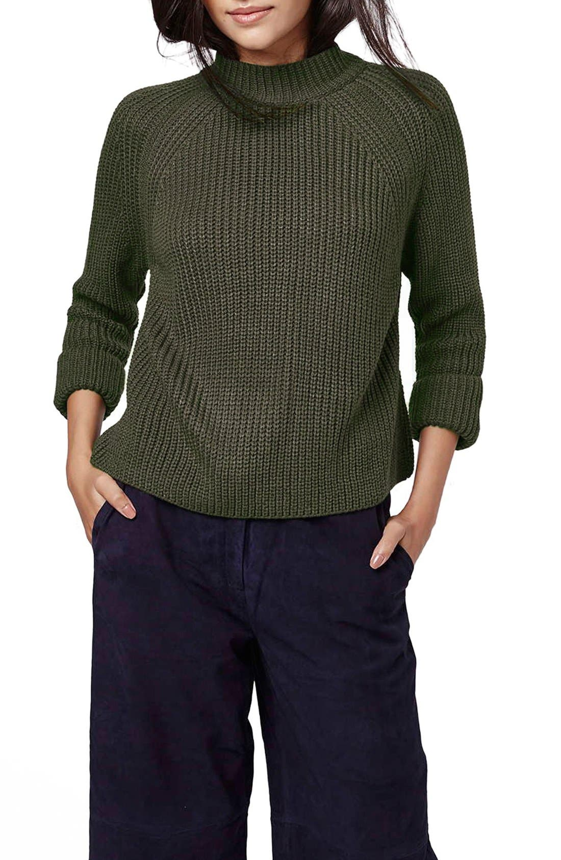 Main Image - Topshop Mock Neck Raglan Sweater