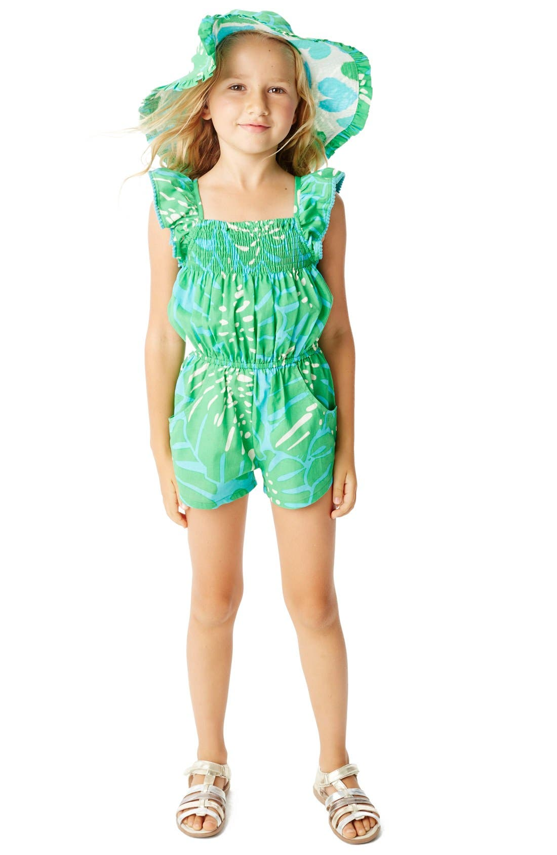 Alternate Image 2  - Masalababy 'Zuri - Island Palm' Flutter Sleeve Romper (Toddler Girls, Little Girls & Big Girls)