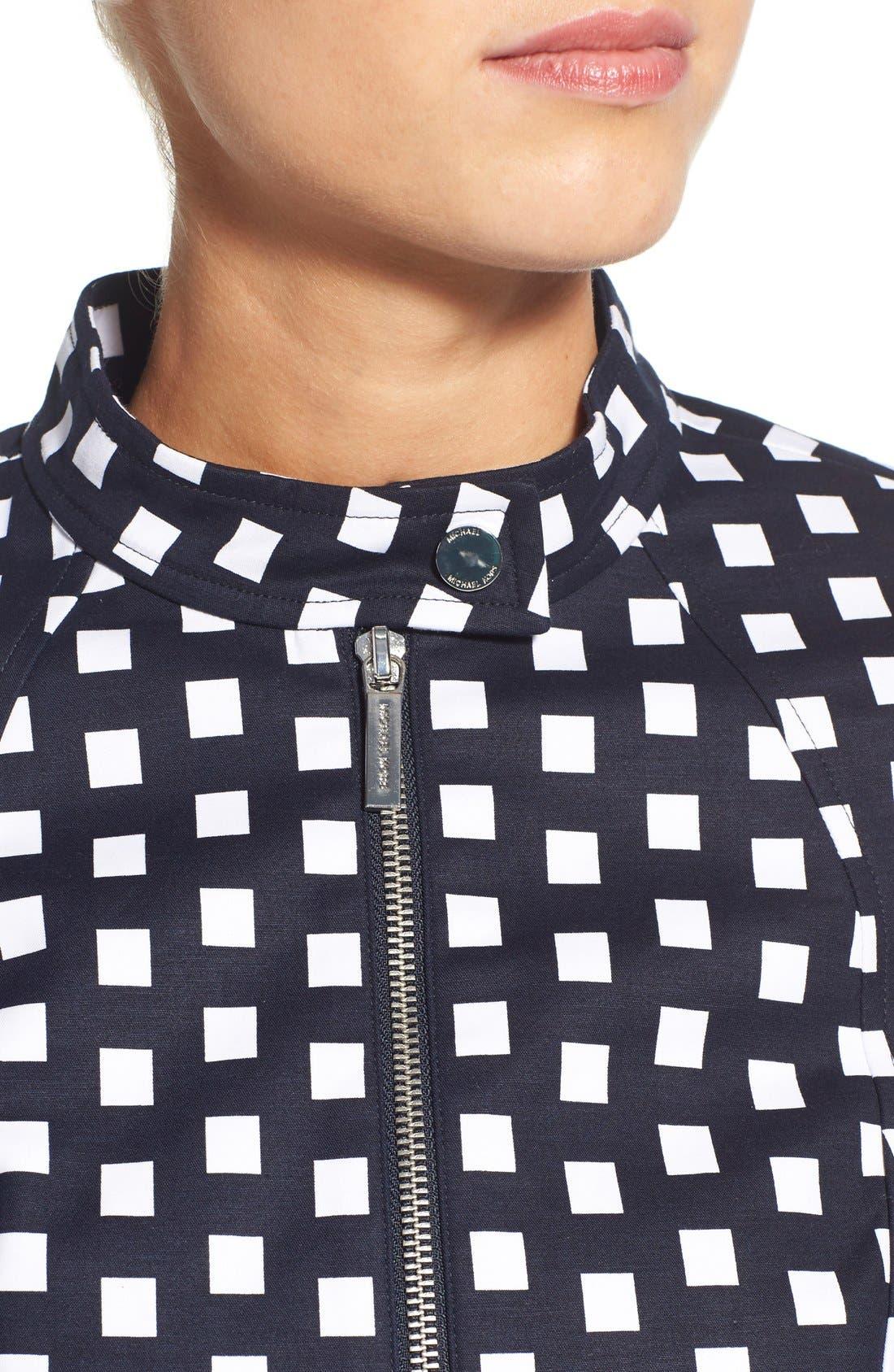 Alternate Image 4  - MICHAEL Michael Kors Check Front Zip Moto Jacket (Petite)
