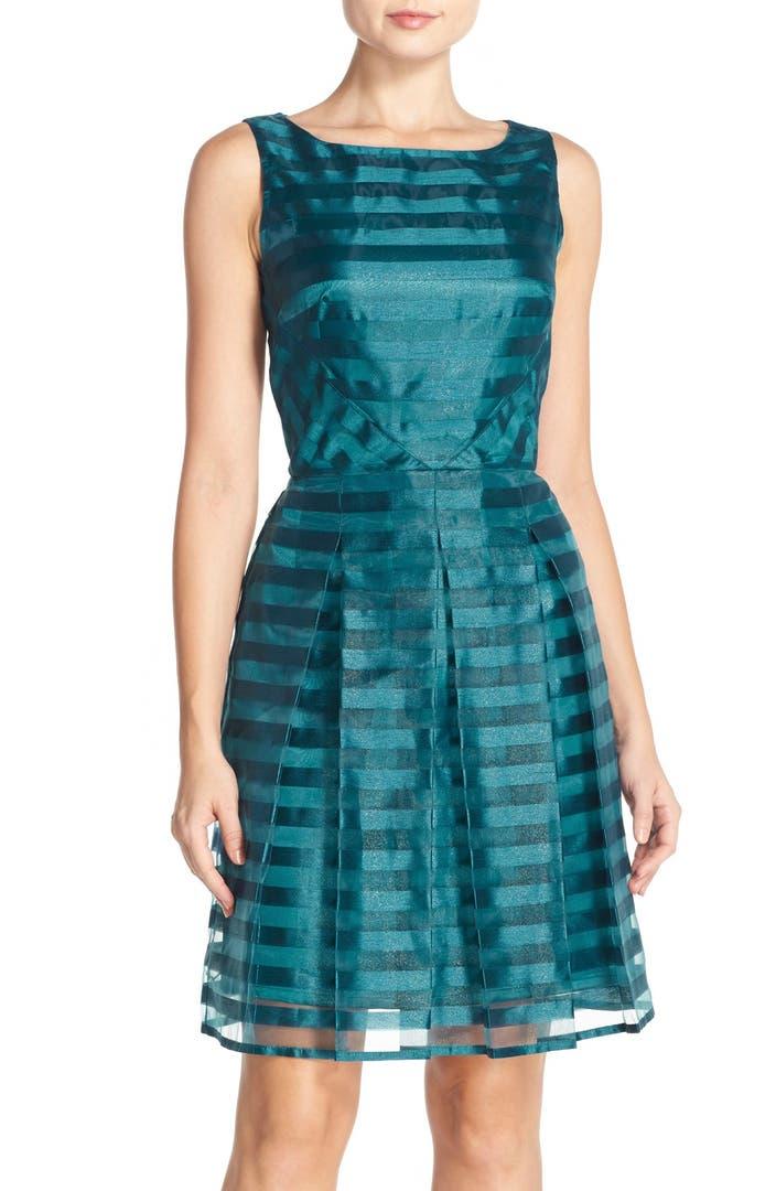 Tahari Shadow Stripe Fit Amp Flare Dress Regular Amp Petite