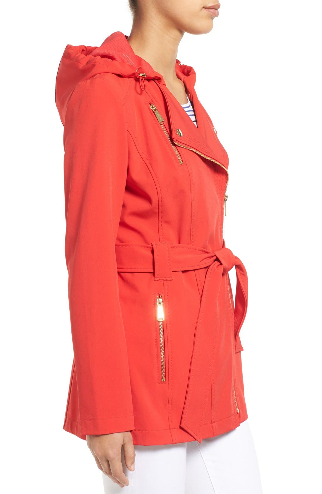 Alternate Image 3  - MICHAEL Michael Kors Asymmetrical Zip Belted Soft Shell Coat