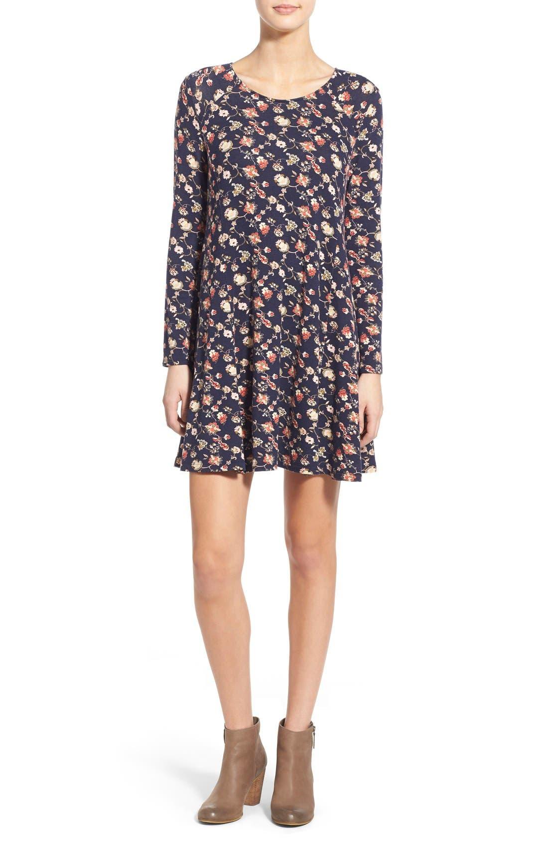Alternate Image 1 Selected - Lush 'Lauren' Long Sleeve Shift Dress