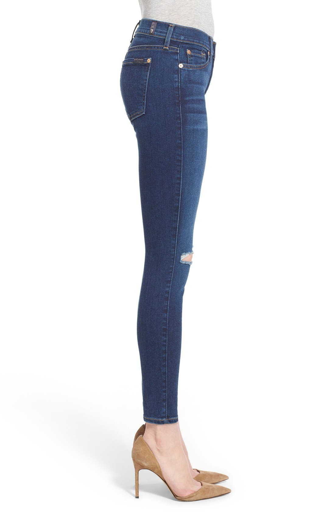 Alternate Image 3  - 7 For All Mankind® Destroyed Ankle Skinny Jeans (Stunning Seville 2)