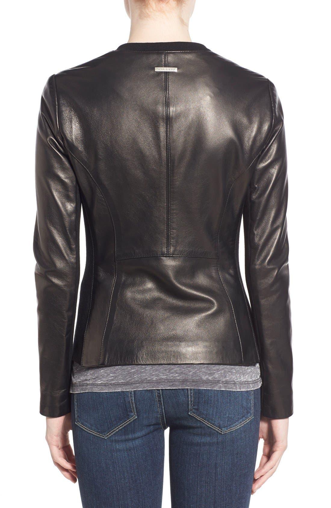Alternate Image 2  - Soia & Kyo Slim Fit Zip Front Leather Jacket