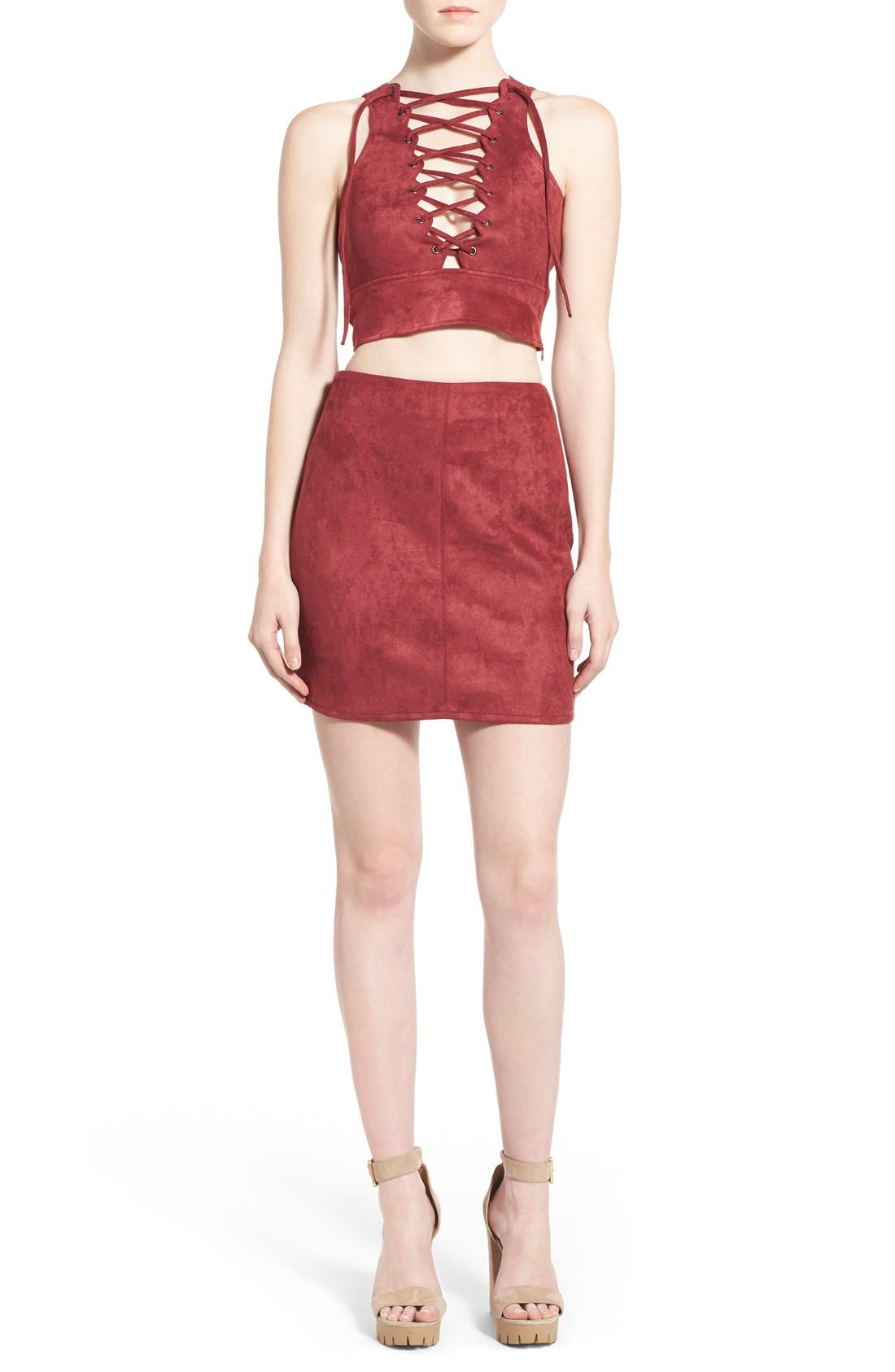 Alternate Image 4  - Missguided Faux Suede Miniskirt