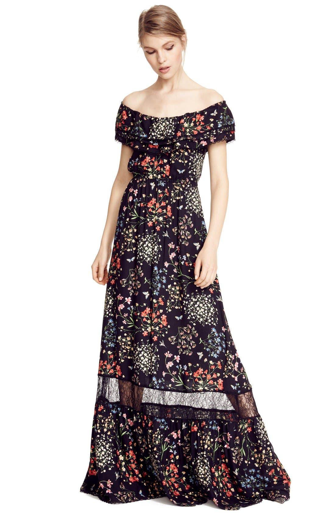 Alternate Image 6  - Alice + Olivia 'Cheri' Floral Print Off the Shoulder Maxi Dress