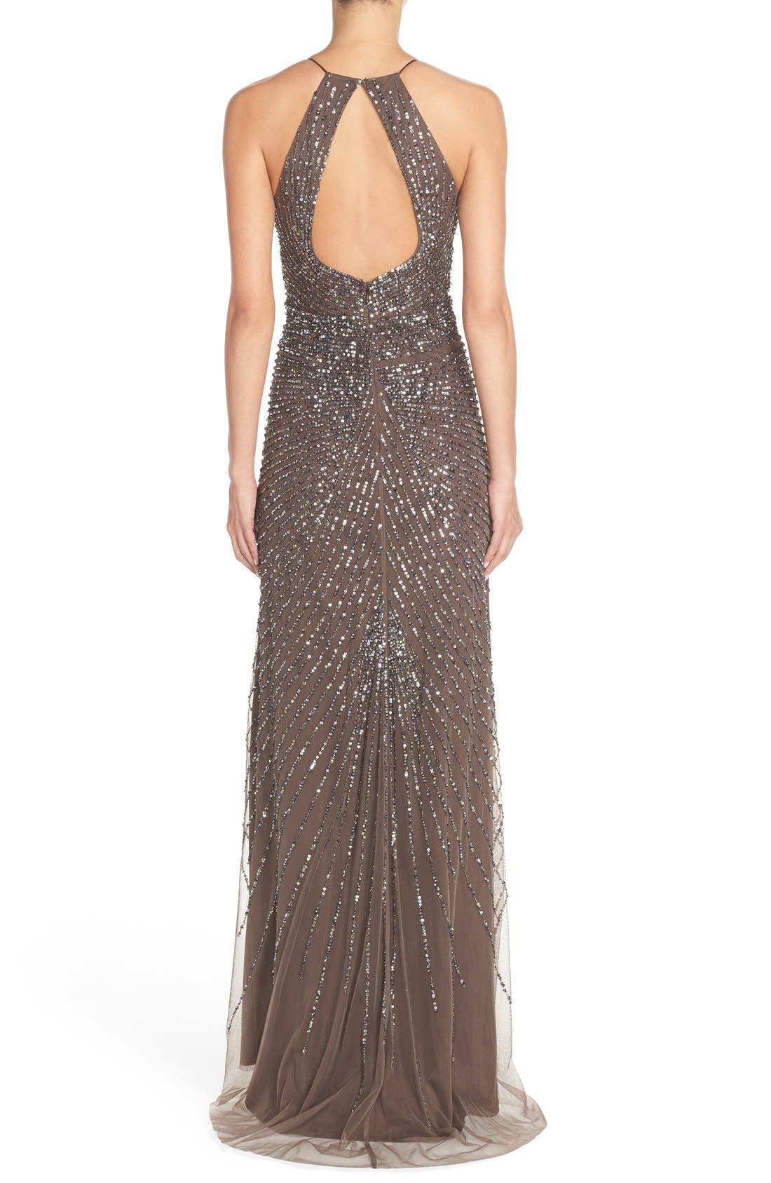 Alternate Image 2  - Adrianna Papell Beaded Mesh Fit & Flare Gown