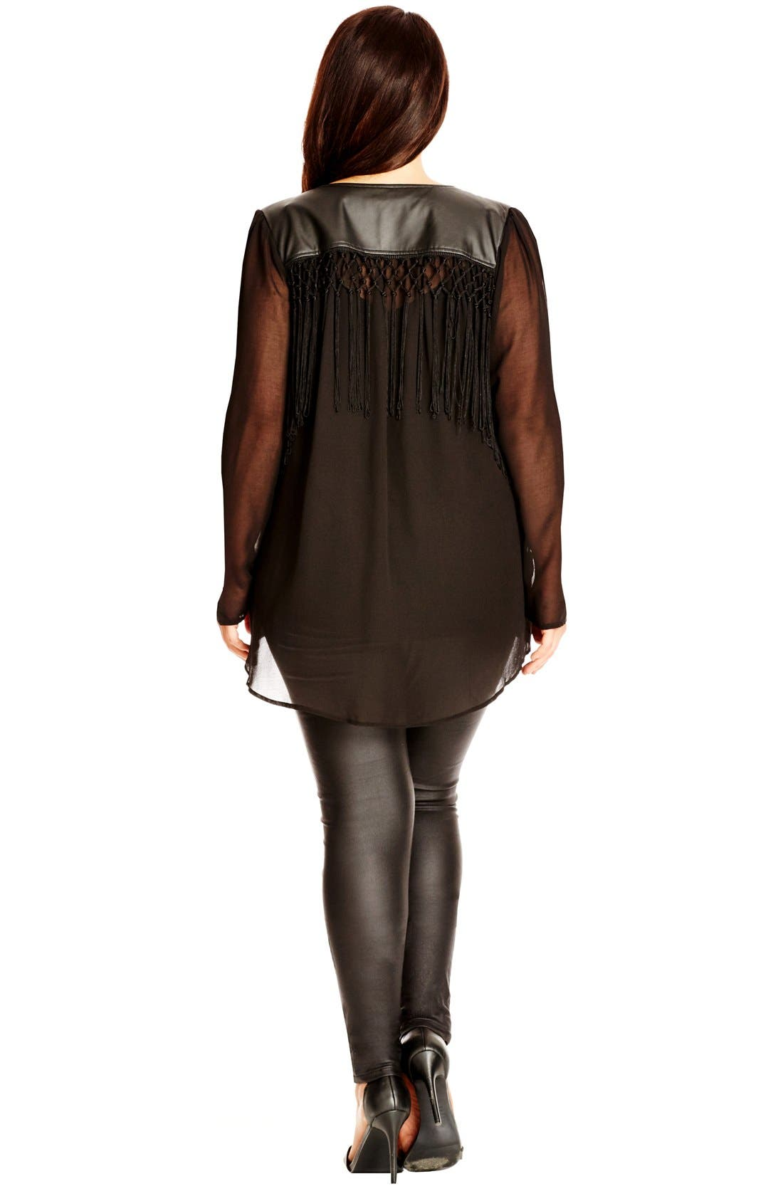 Alternate Image 2  - City Chic 'Pleather Fringe' Chiffon Jacket with Faux Leather & Fringe Trim (Plus Size)