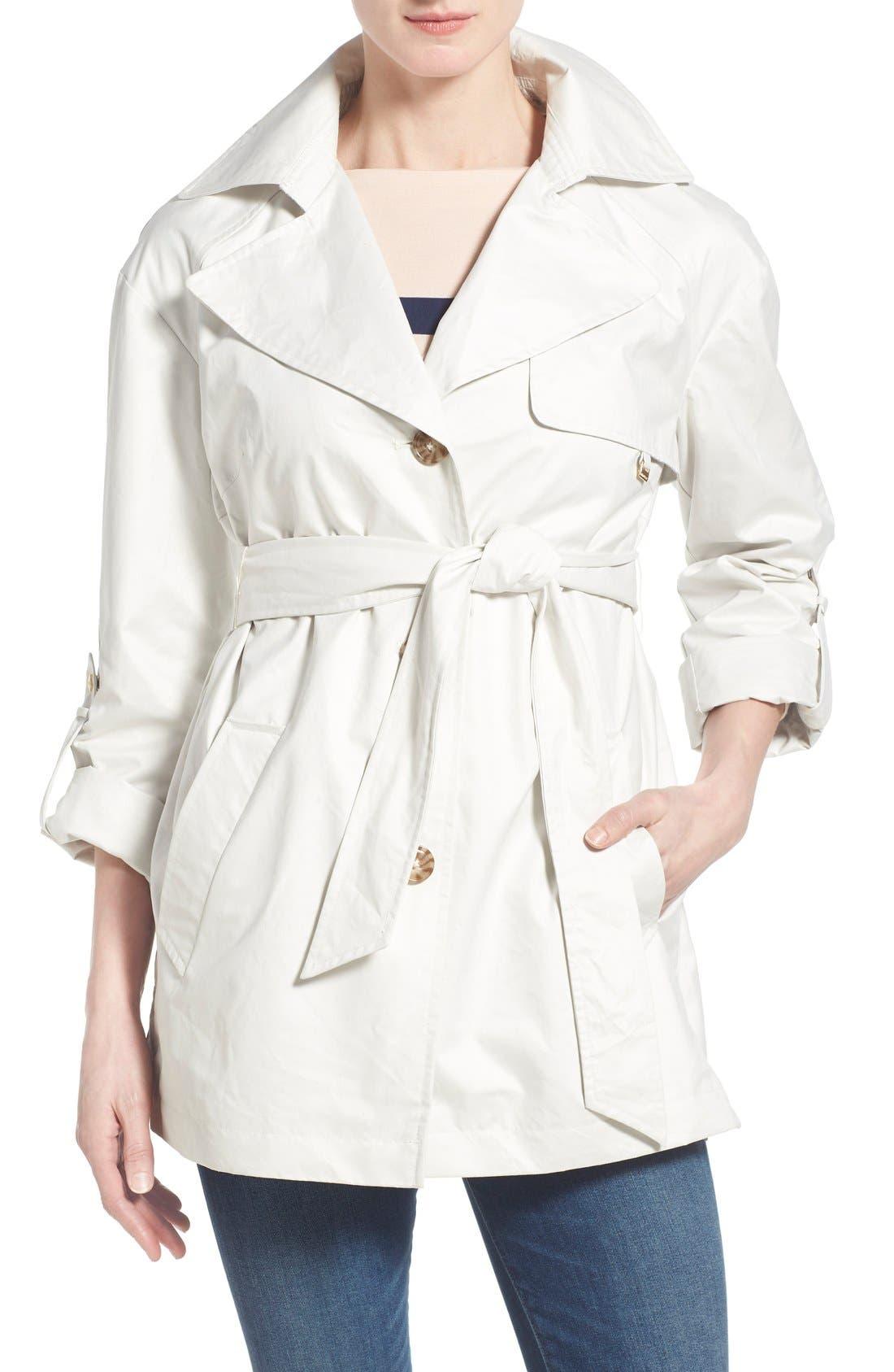 Ellen Tracy Short Single Breasted Chintz Trench Coat