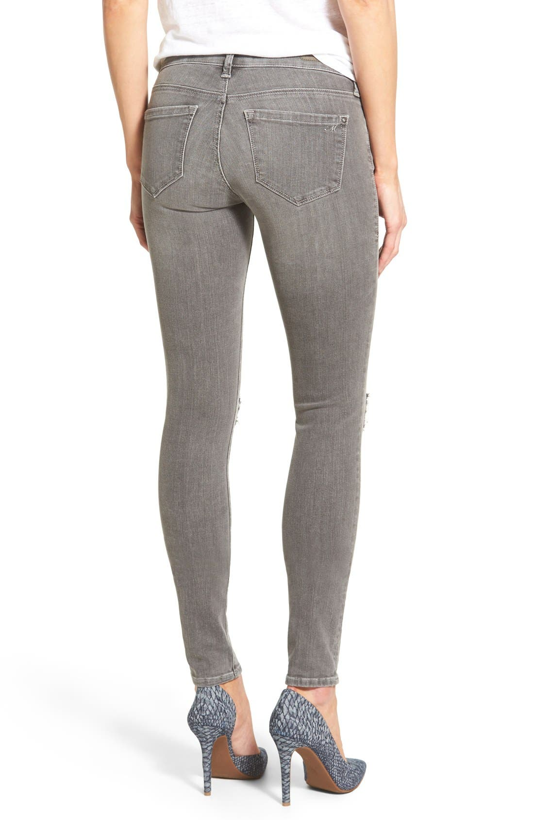 Alternate Image 2  - Mavi Jeans 'Serena' Distressed Stretch Skinny Jeans (Grey Ripped)