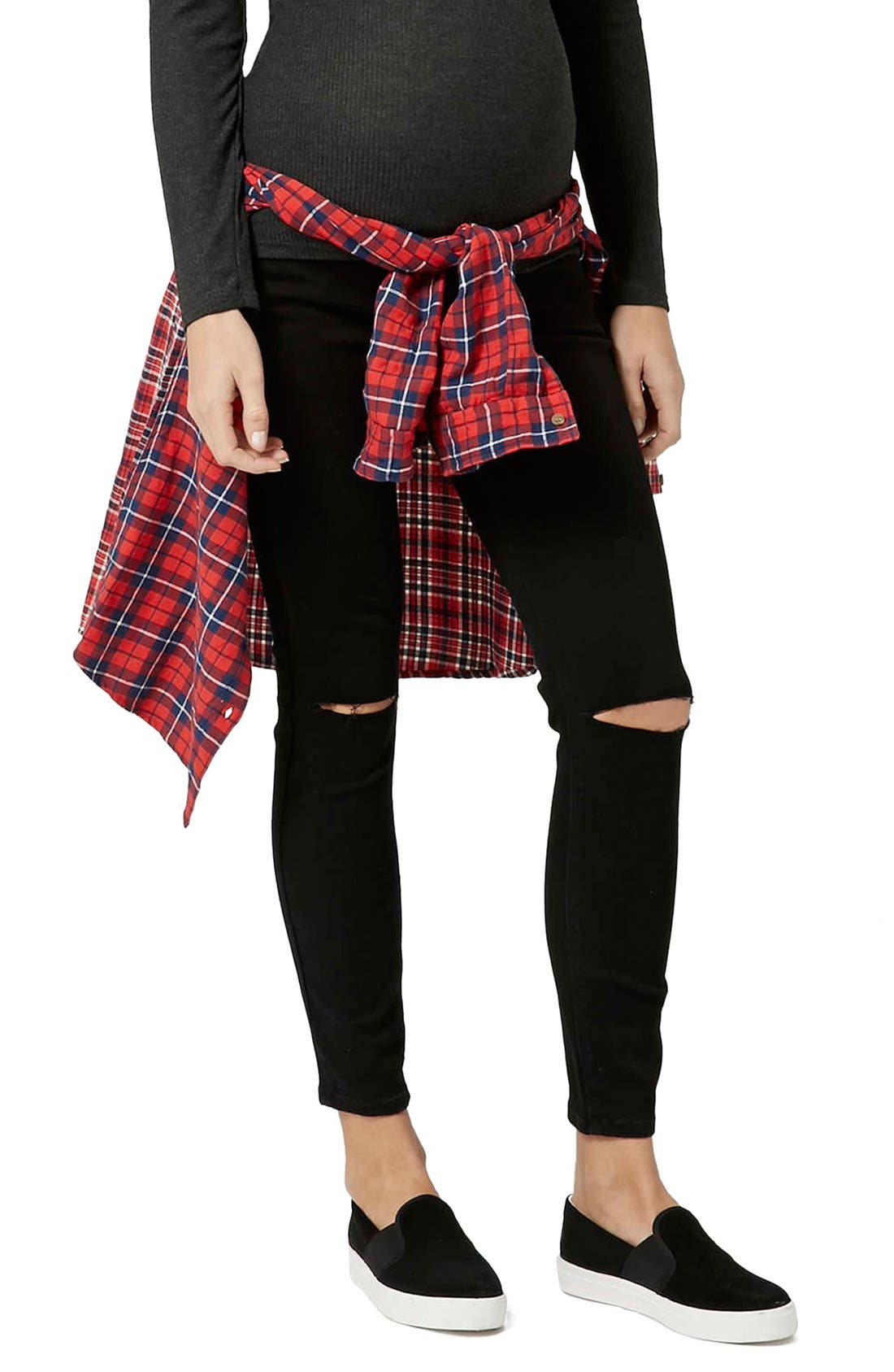 Main Image - Topshop 'Jamie' Ripped Skinny Maternity Jeans