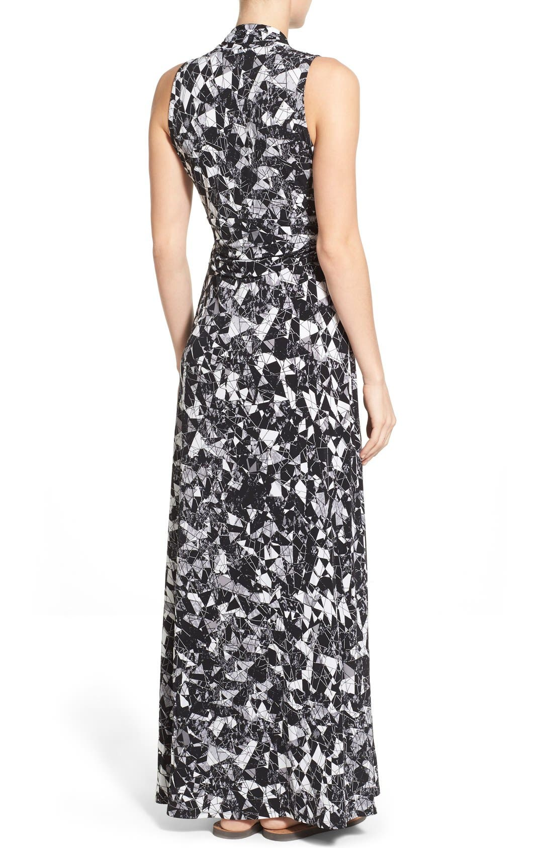 Alternate Image 2  - Vince Camuto Print Jersey Cutaway Shoulder Maxi Dress (Petite)
