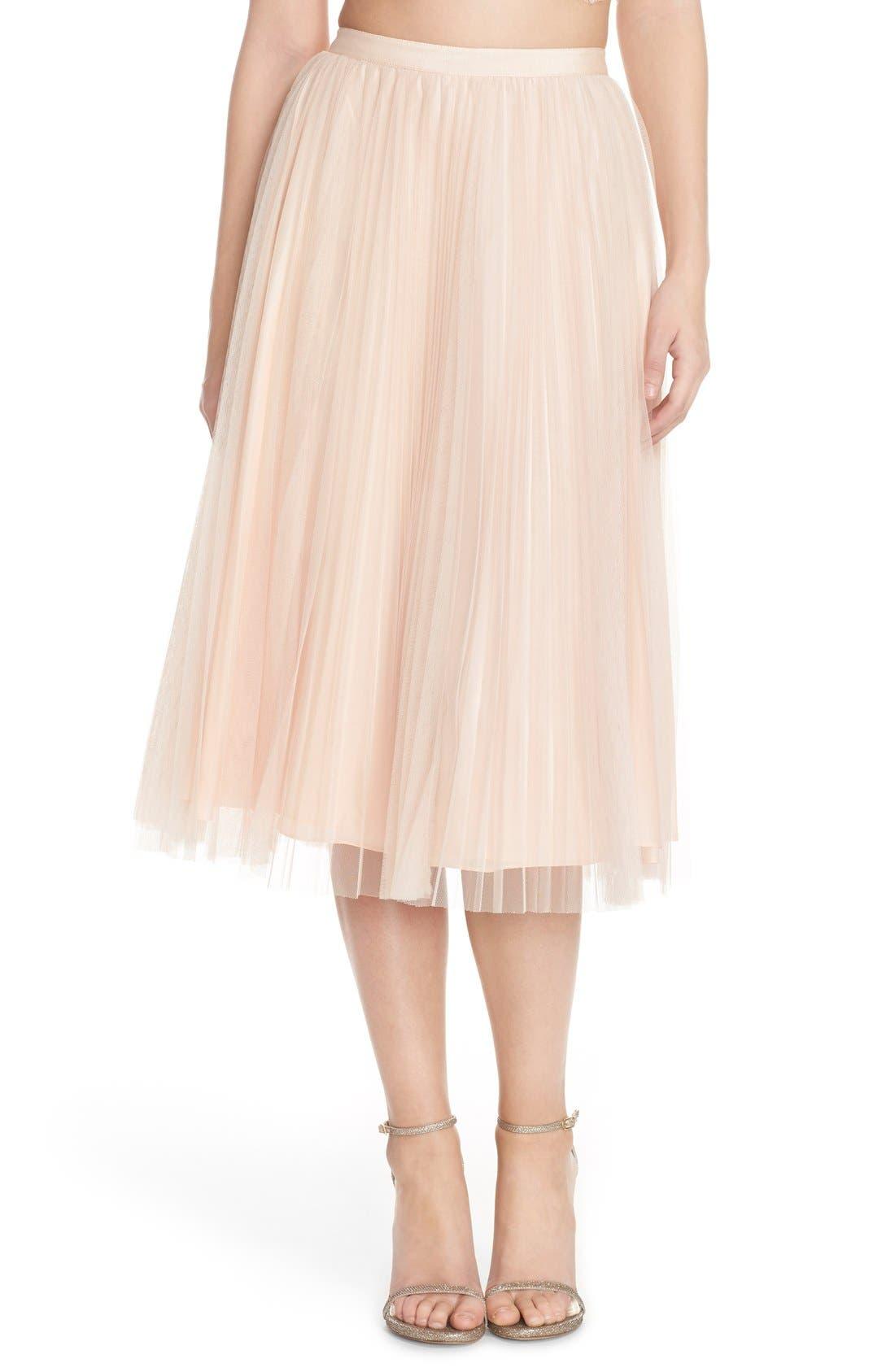 Alternate Image 1 Selected - Adrianna Papell Pleated Tulle Midi Skirt