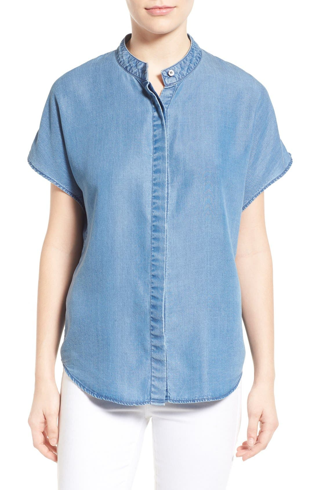 Main Image - KENDALL + KYLIE Keyhole Back Chambray Top