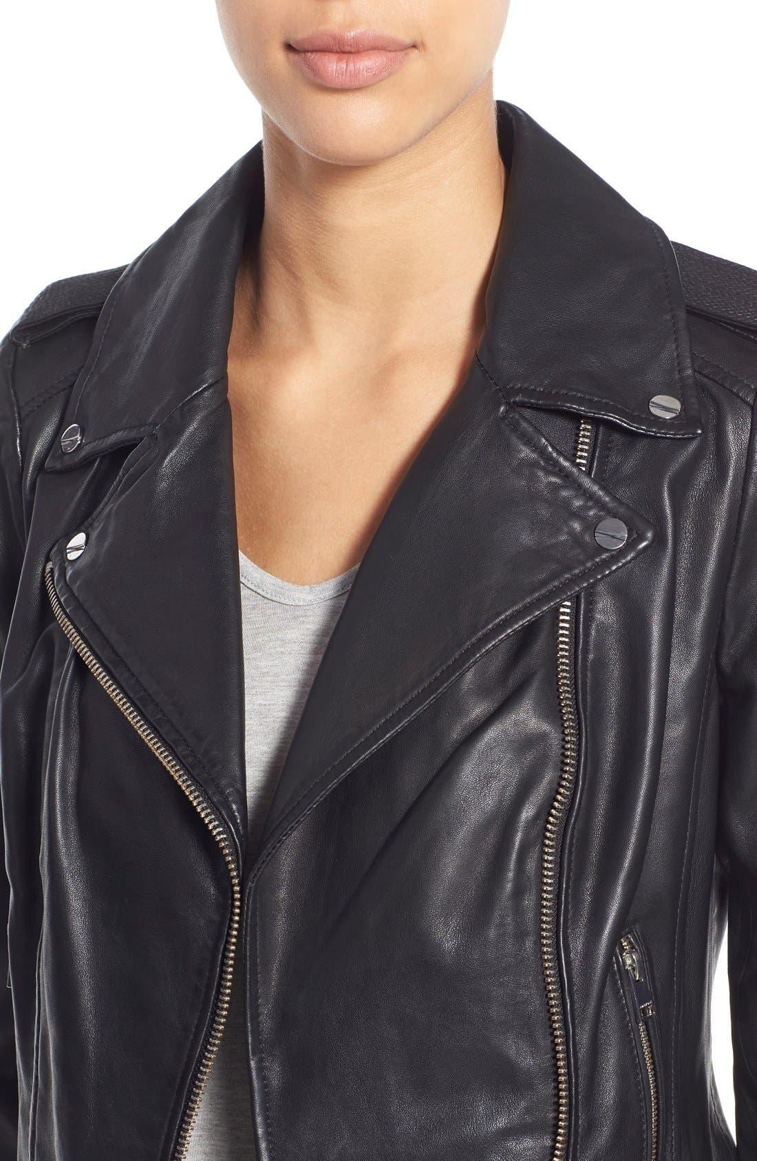 Alternate Image 4  - LAMARQUE Donna Lambskin Leather Moto Jacket