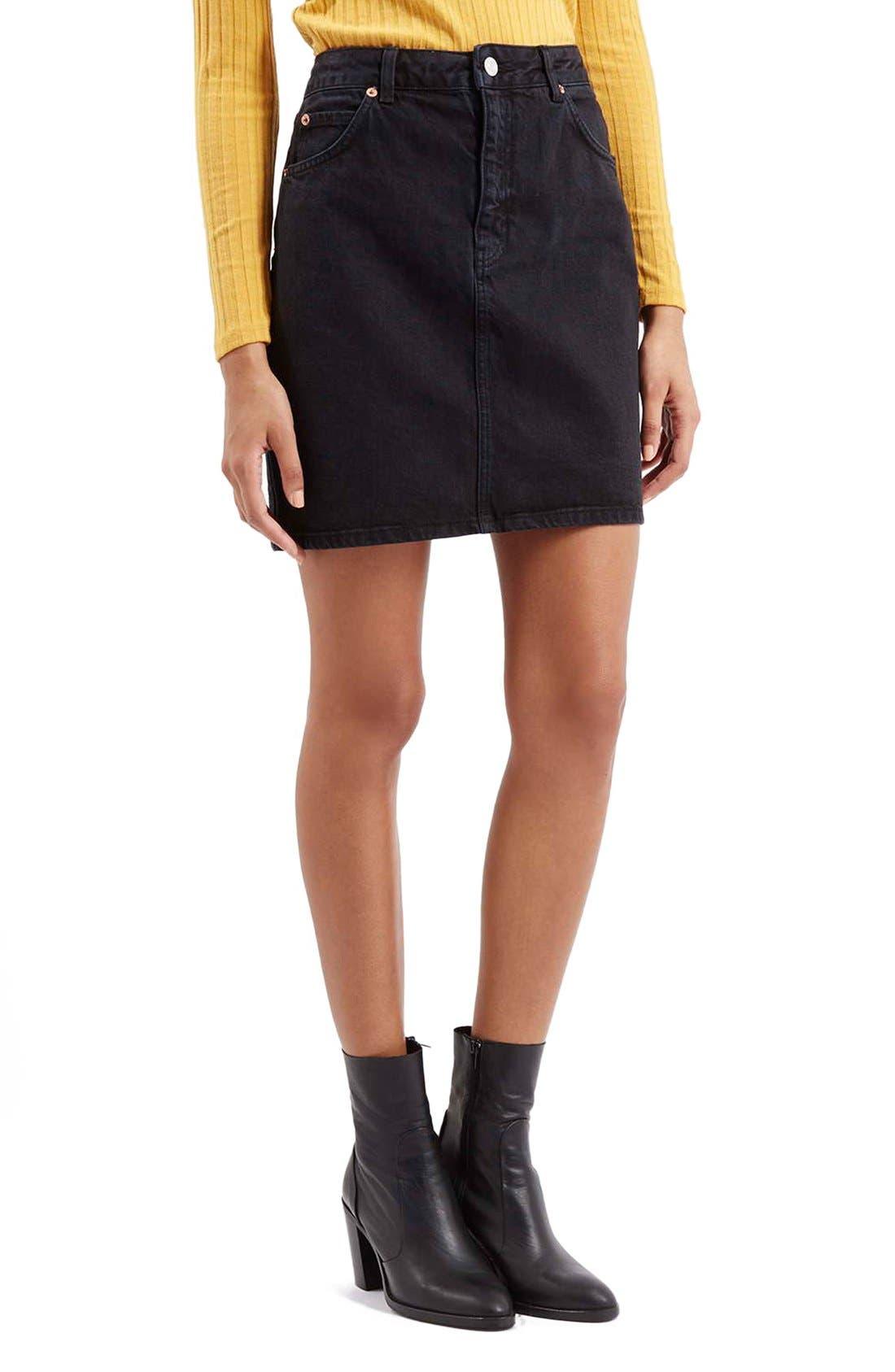 Alternate Image 1 Selected - Topshop Denim A-Line Skirt