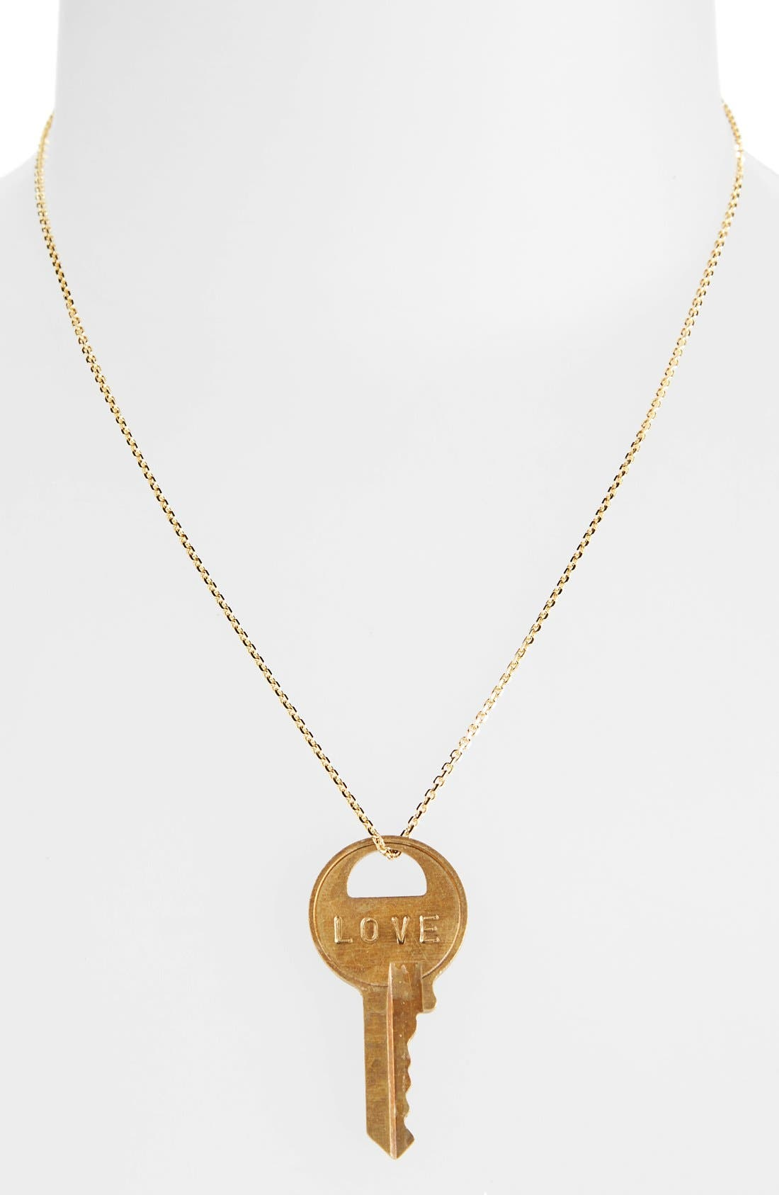 Alternate Image 2  - The Giving Keys Dainty Classic Hope 18-Inch Gold Key Pendant Necklace