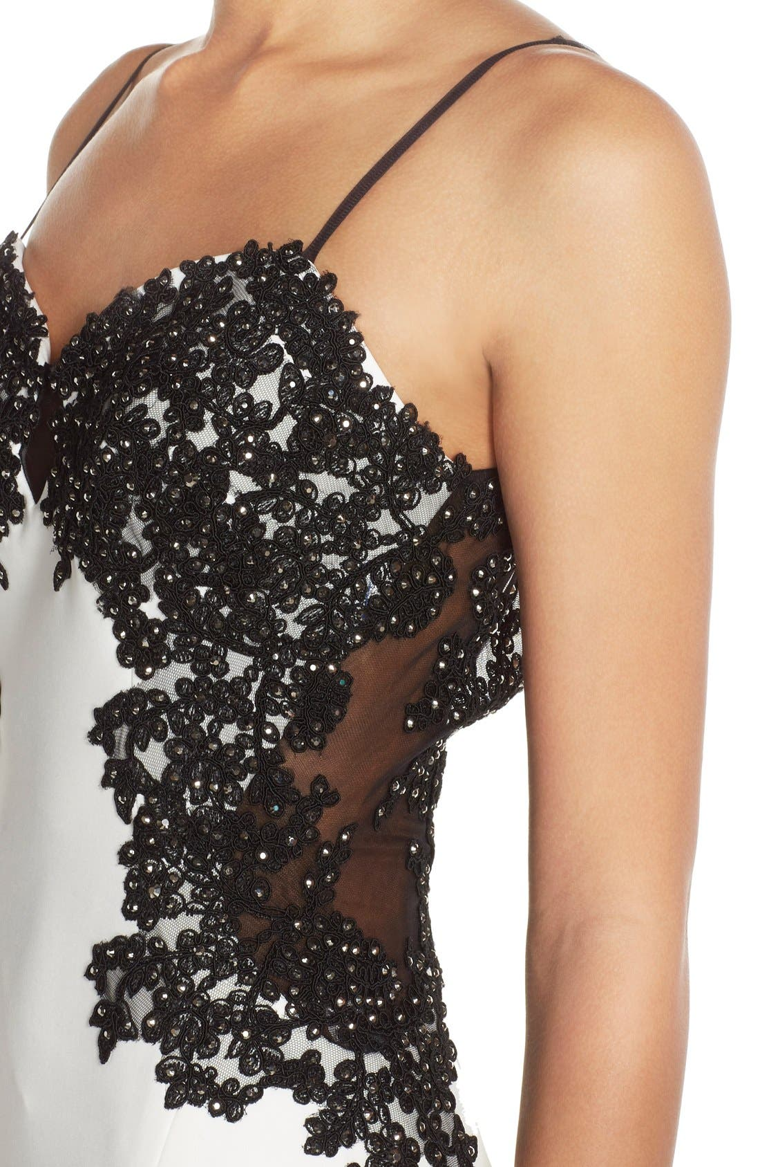 Alternate Image 4  - Faviana Spaghetti Strap Gown with Beaded Floral Lace