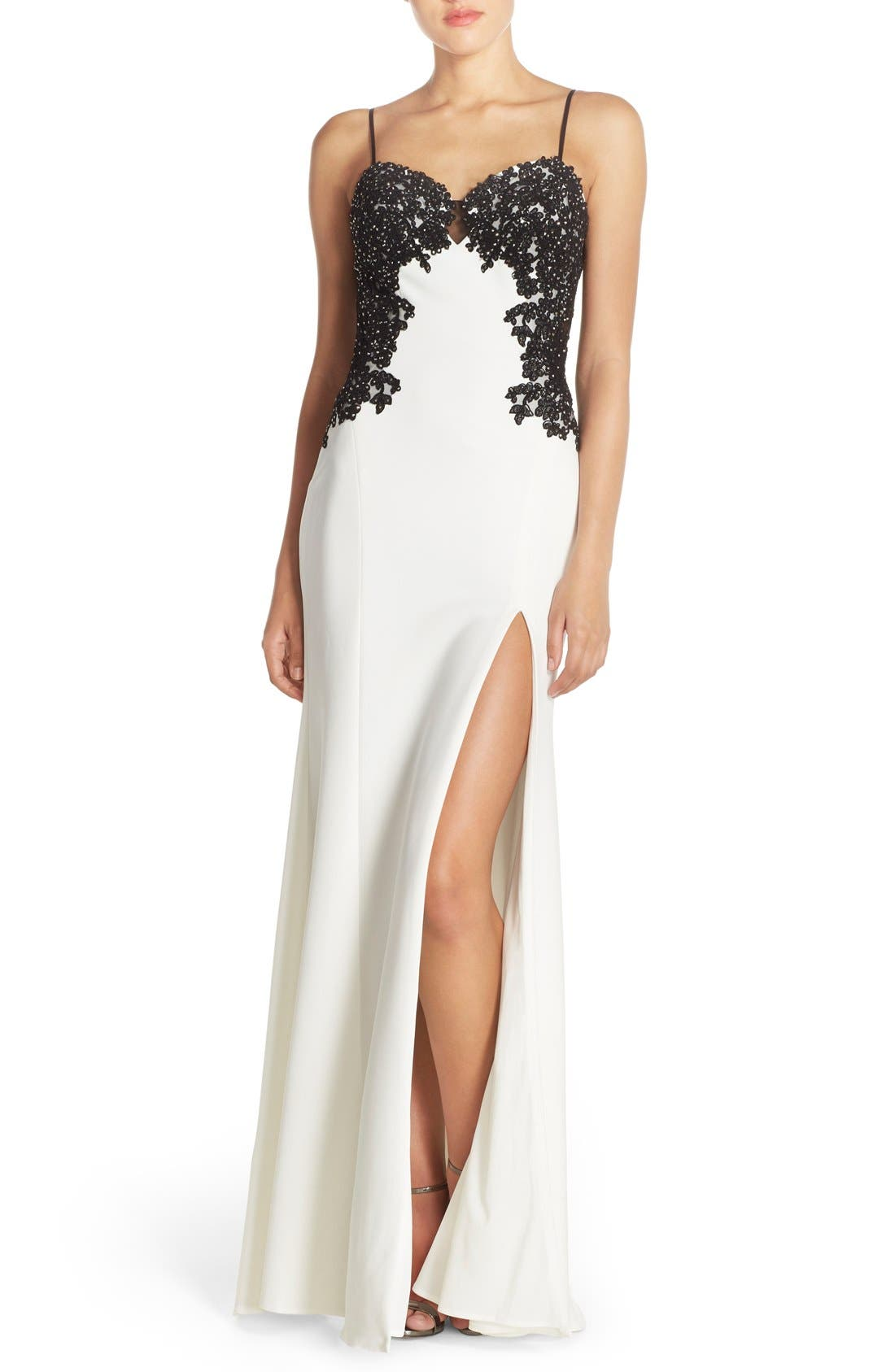 Main Image - Faviana Spaghetti Strap Gown with Beaded Floral Lace