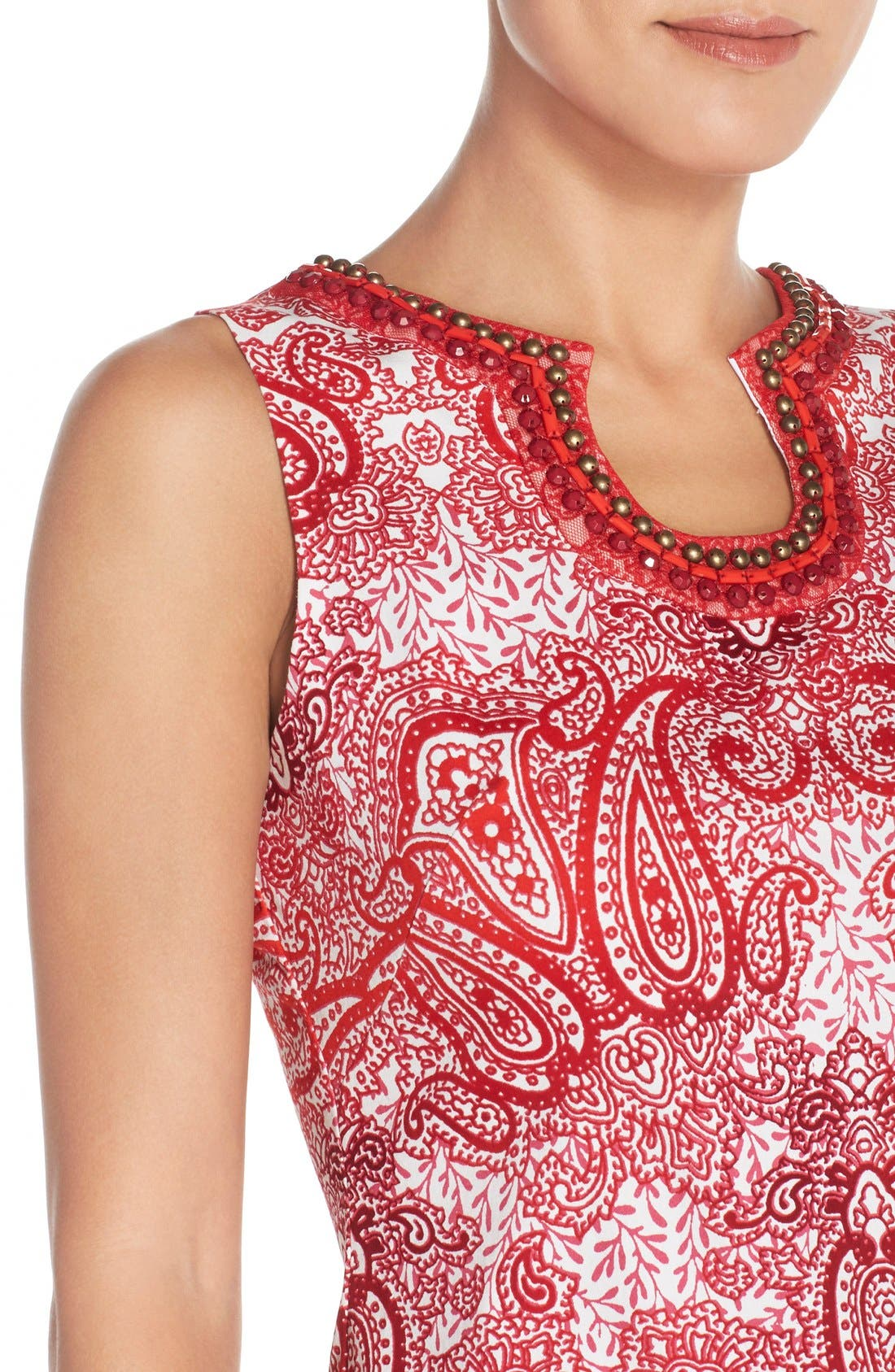 Alternate Image 5  - London Times 'Regal Ombré' Embellished Paisley Print Sleeveless Shift Dress