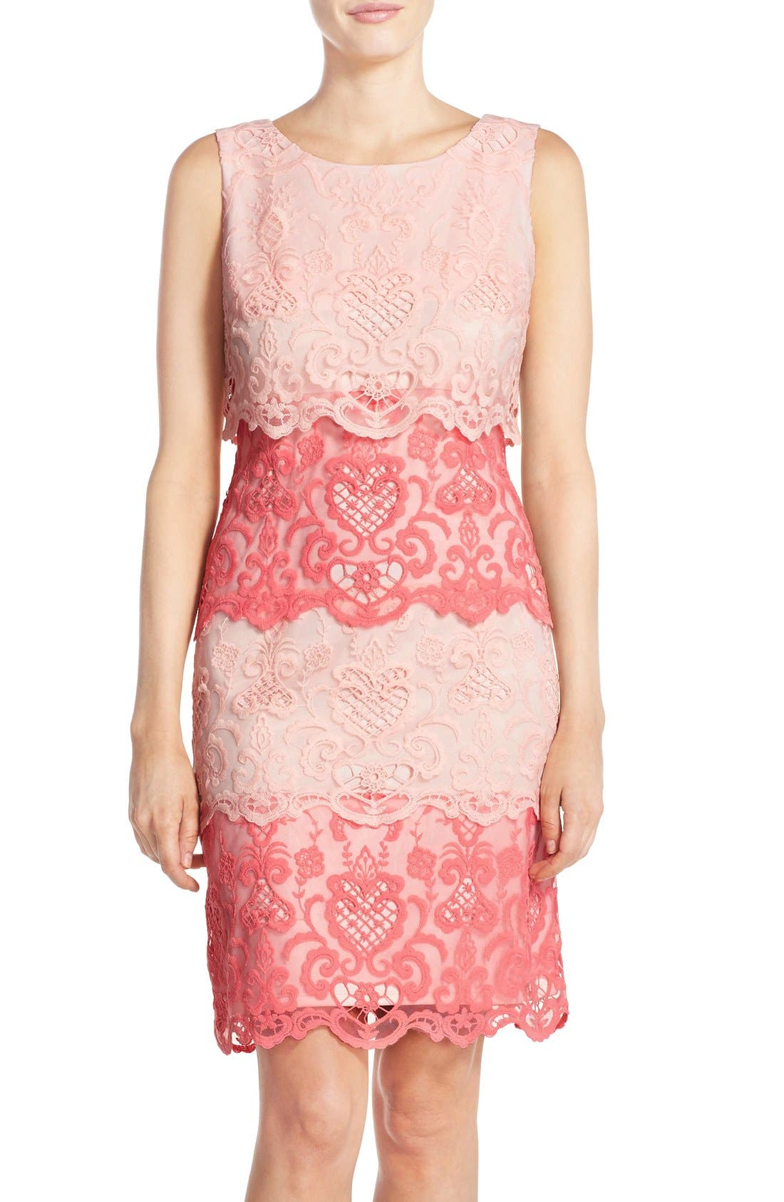 Alternate Image 1 Selected - Chetta B Tiered Lace Sheath Dress