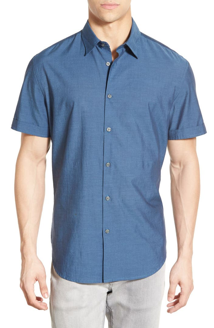 John varvatos star usa trim fit short sleeve sport shirt for Tailored fit shirts meaning