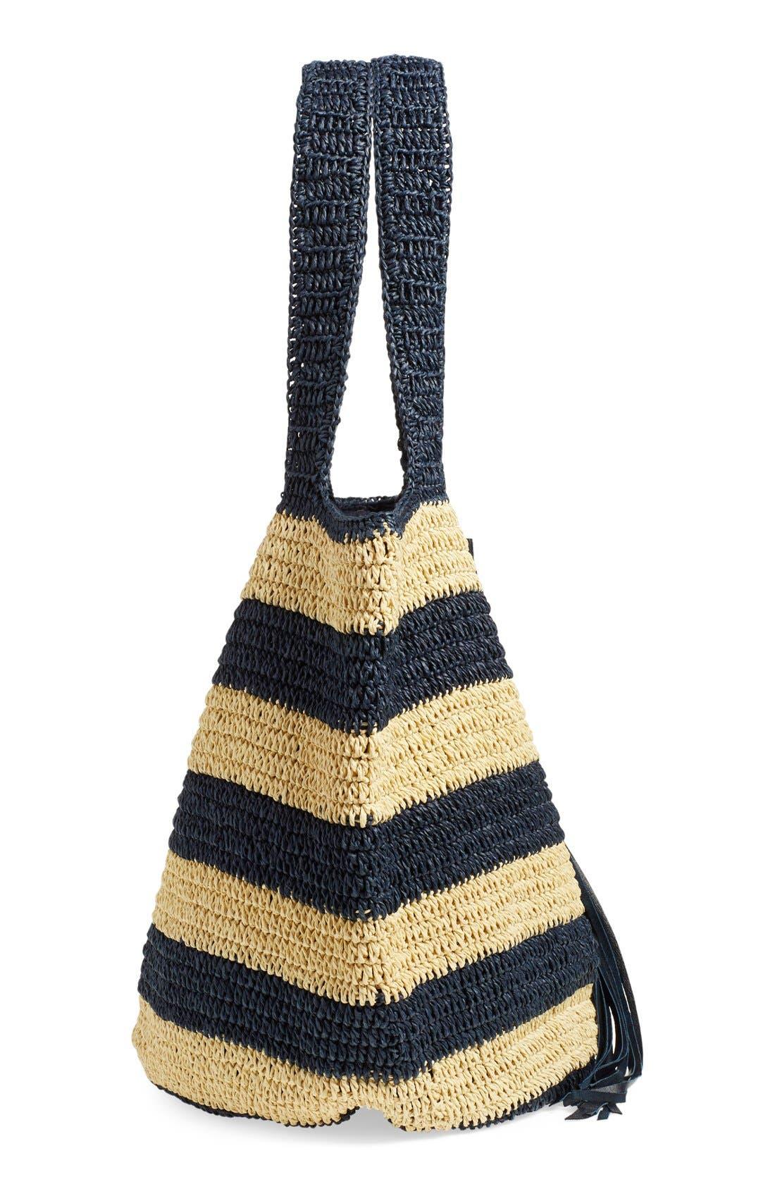 Alternate Image 5  - Caslon® Stripe Crochet Straw Shoulder Bag