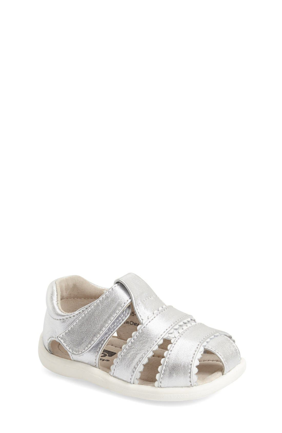 See Kai Run 'Gloria II' Leather Fisherman Sandal (Baby, Walker & Toddler)