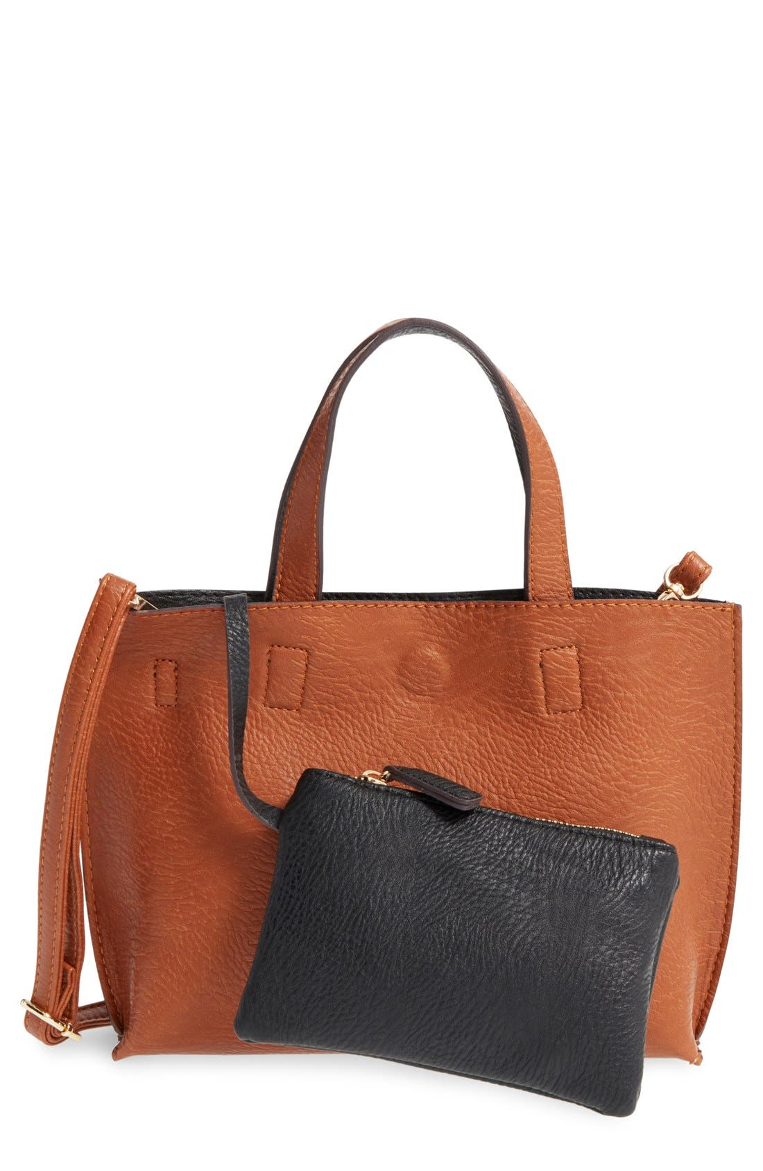 Alternate Image 1 Selected - Street Level Reversible Faux Leather Crossbody Mini Tote & Wristlet