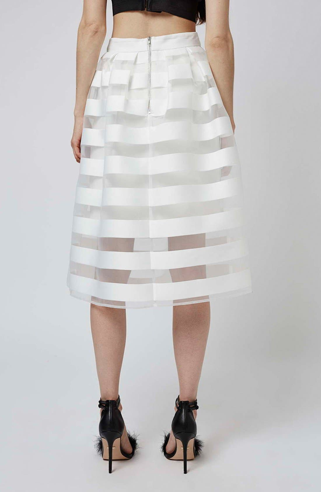 Alternate Image 3  - Topshop 'Glass' Sheer Stripe Pleat Midi Skirt