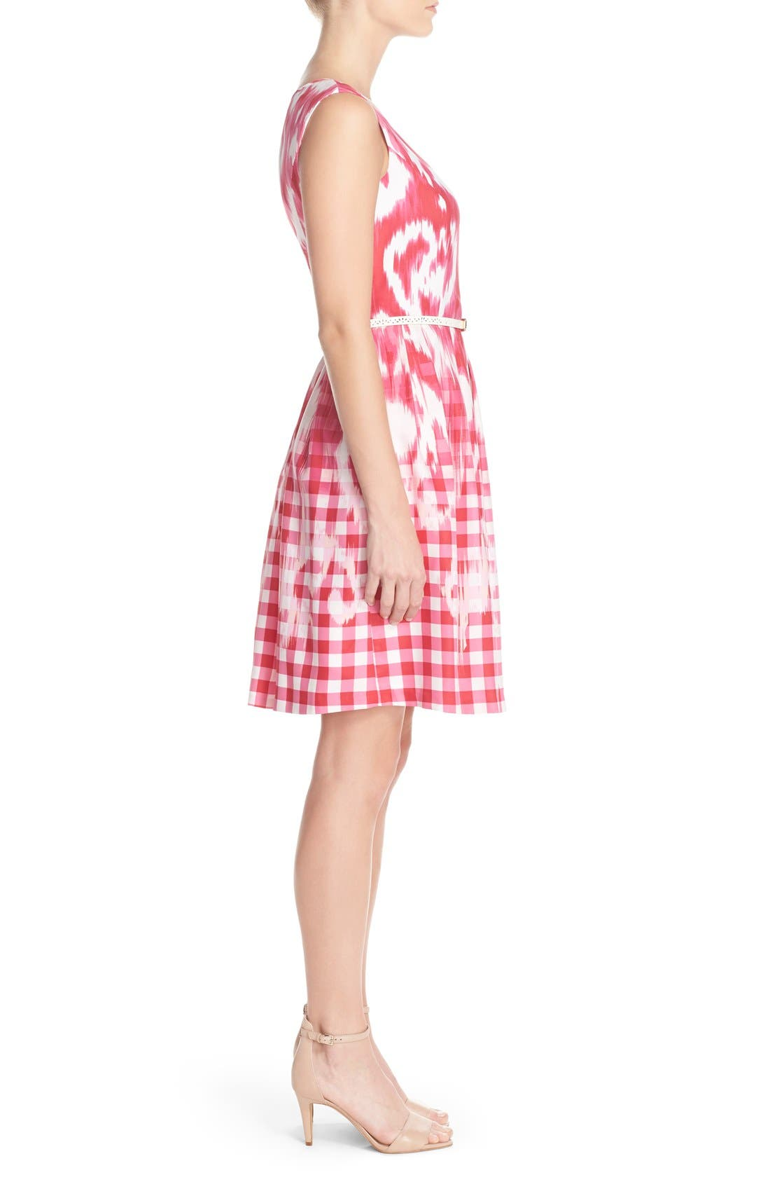 Alternate Image 3  - Ellen Tracy Belted Mixed Print Faille Fit & Flare Dress (Regular & Petite)