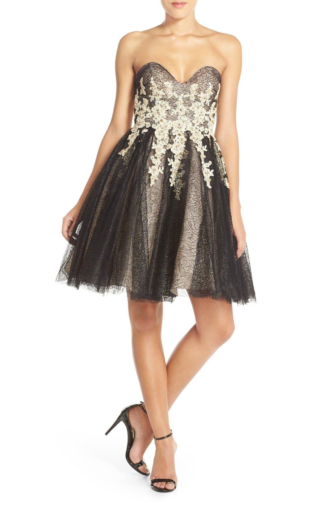 Alternate Image 4  - Terani Couture Appliqué Lace Fit & Flare Dress