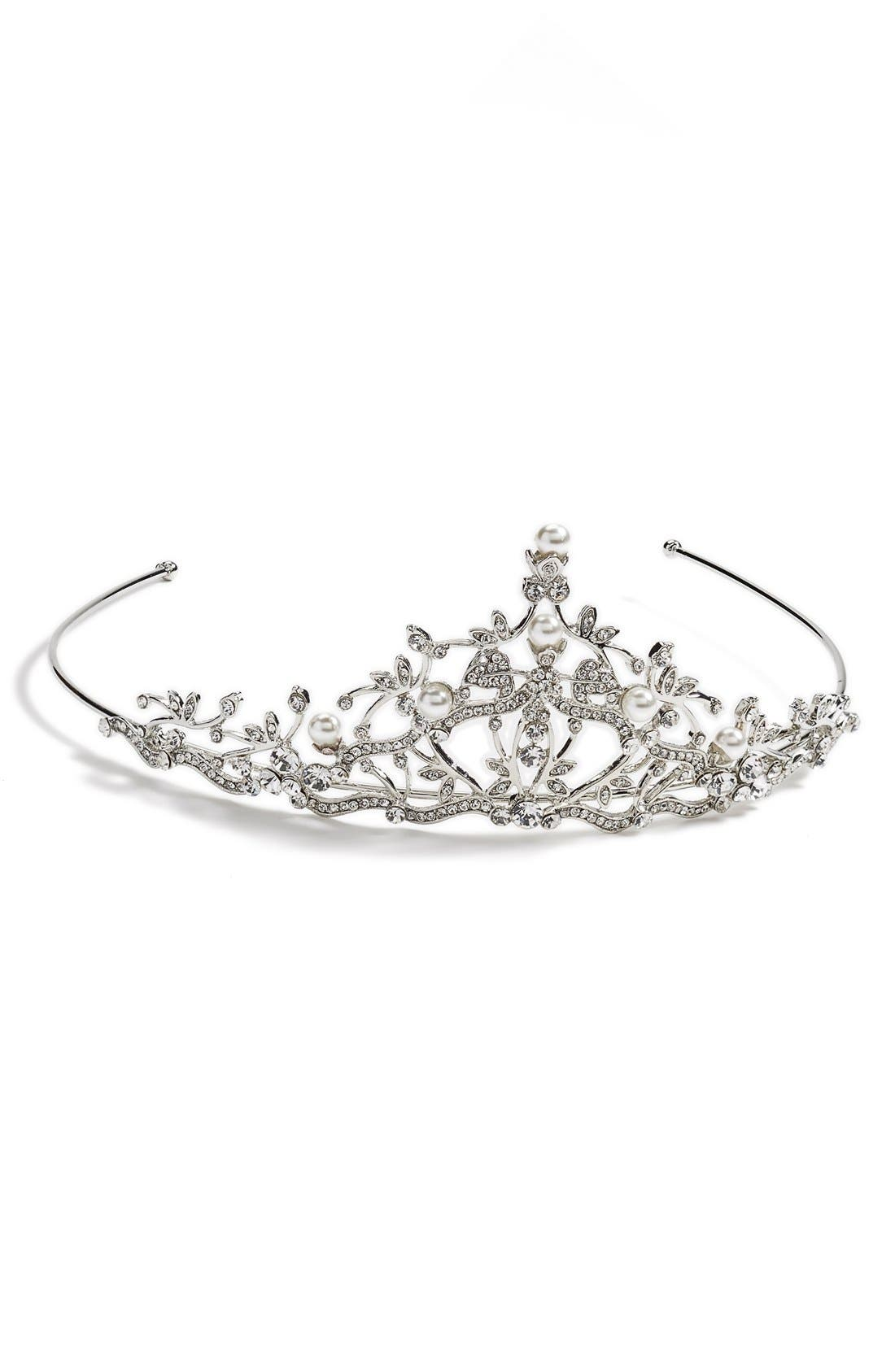 Nina Crystal and Pearly Bead Tiara