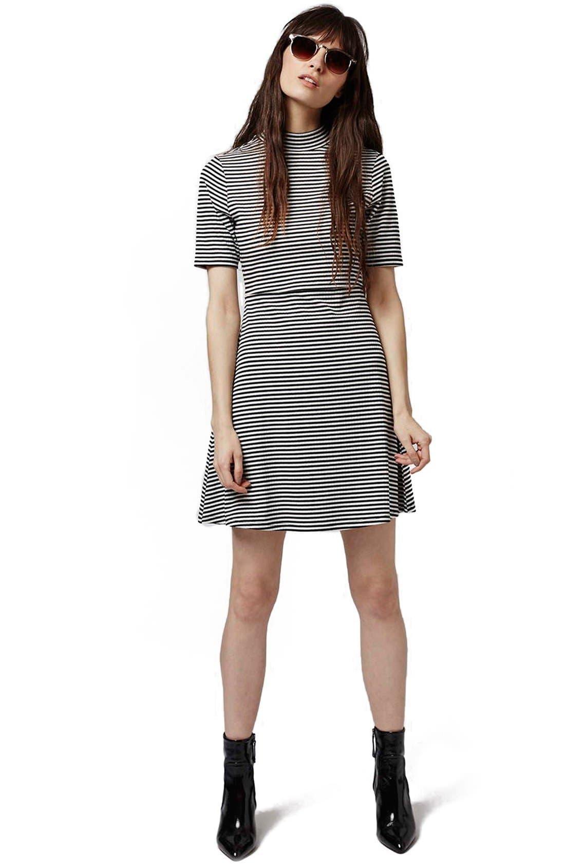 Alternate Image 2  - Topshop Stripe Flippy Dress (Petite)