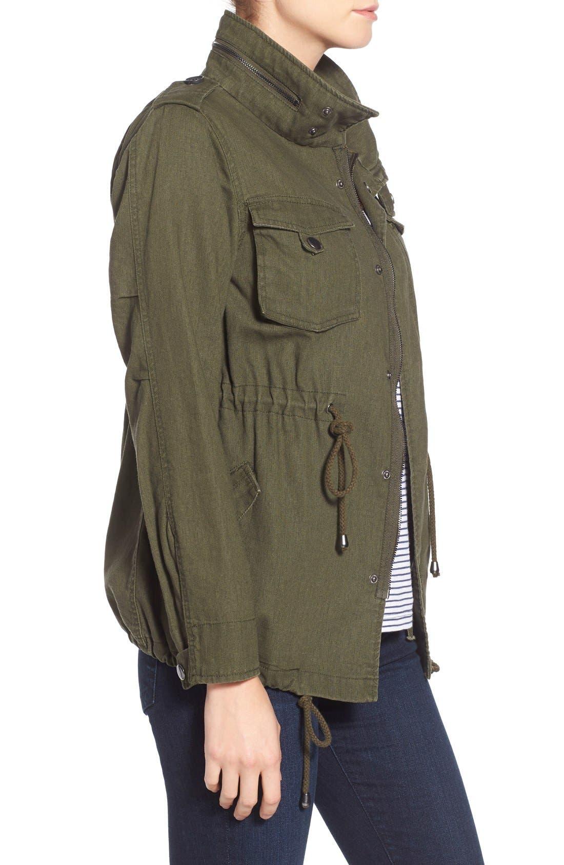 Alternate Image 3  - Pleione Linen & Cotton Blend Military Jacket (Regular & Petite)