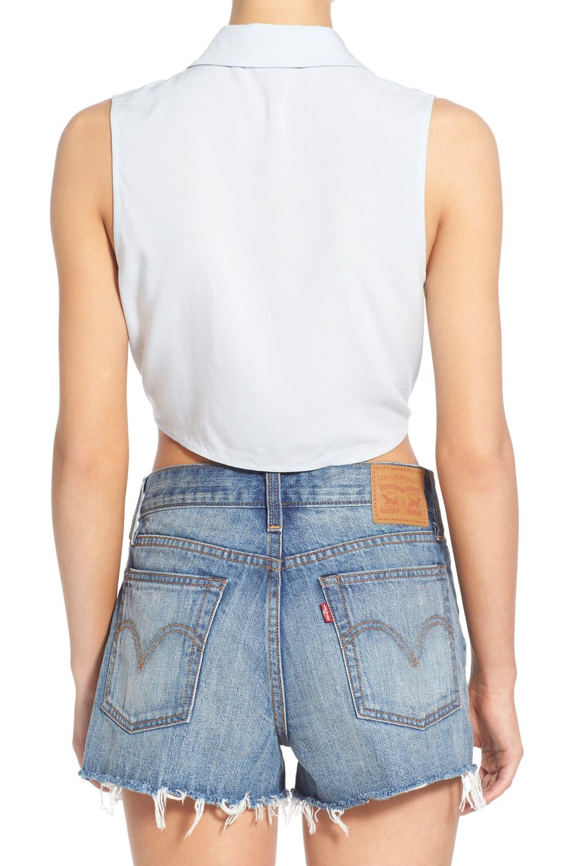 Alternate Image 2  - BP. Tie Front Sleeveless Crop Top