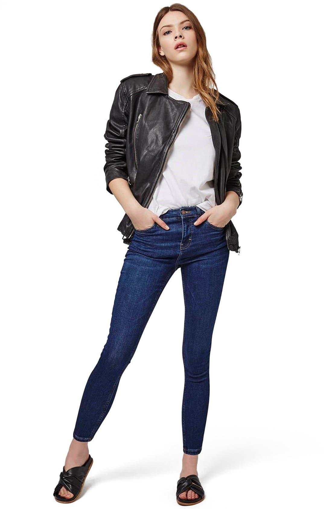 Alternate Image 2  - Topshop 'Jamie' High Rise Ankle Skinny Jeans (Petite)