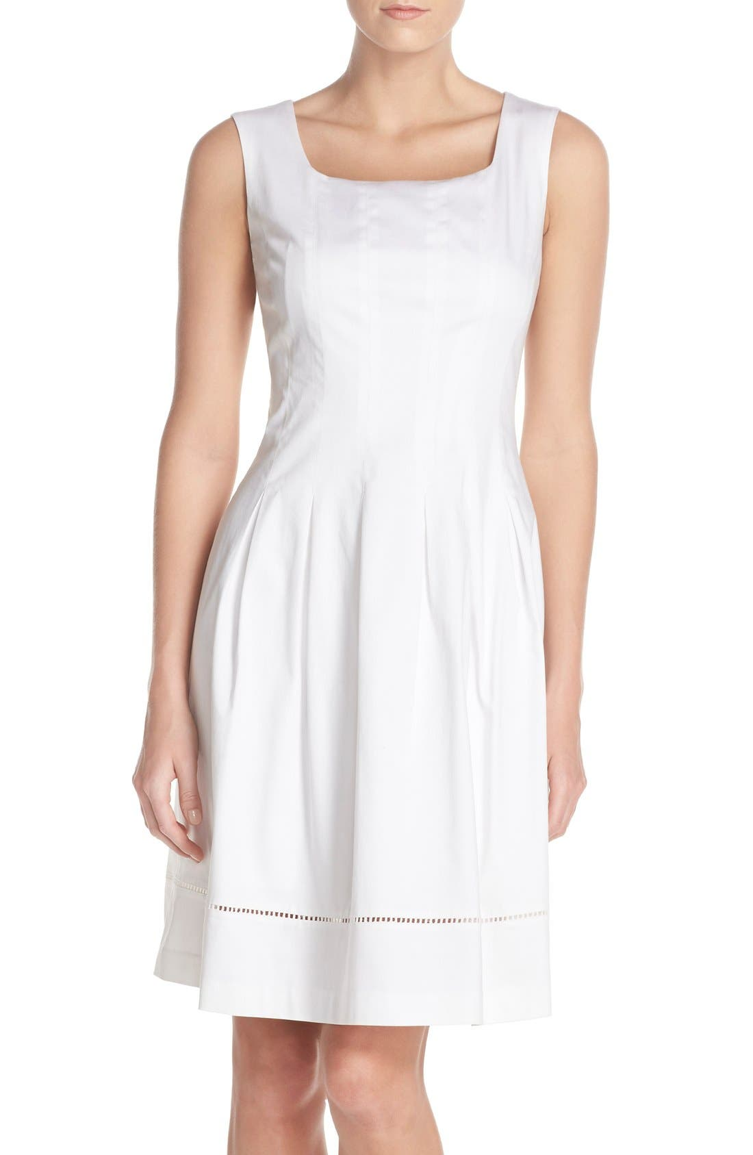 ELLEN TRACY Square Neck Sateen Fit & Flare