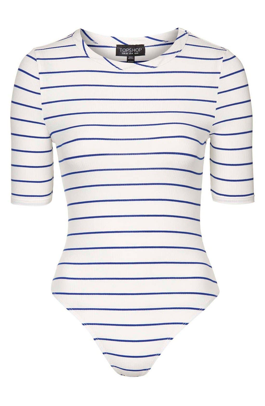 Alternate Image 3  - Topshop Stripe Crewneck Bodysuit (Regular & Petite)