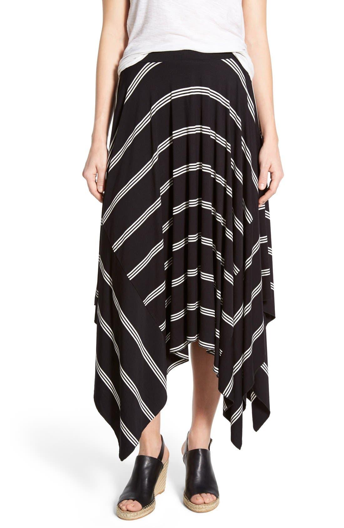 Main Image - Halogen® Stretch Knit Handkerchief Hem Maxi Skirt (Regular & Petite)