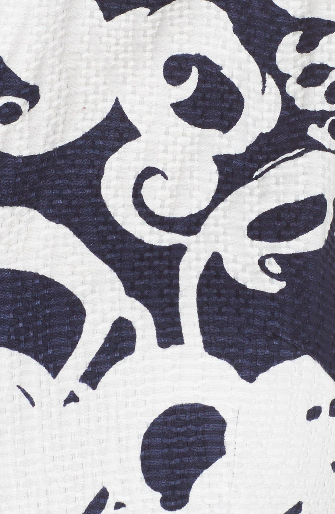 Alternate Image 6  - Taylor Dresses Print Jacquard Fit & Flare Shirtdress
