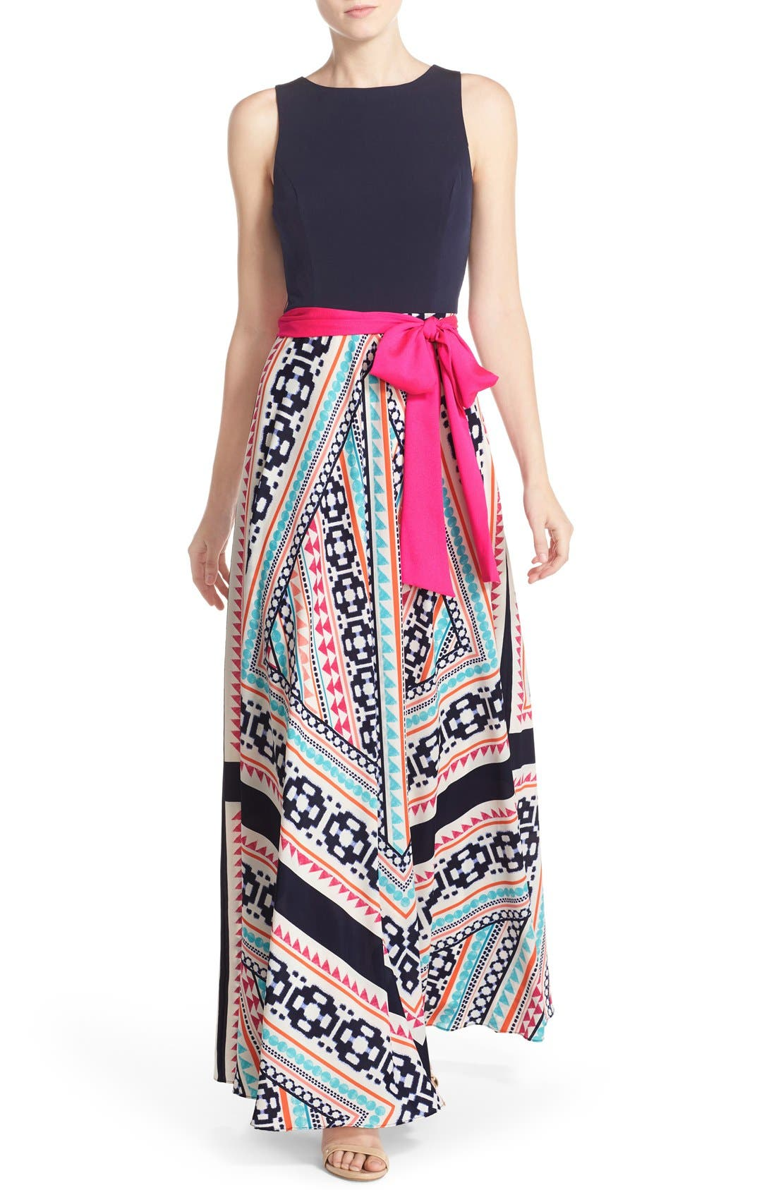 Main Image - Eliza J Jersey & Print Crêpe de Chine Maxi Dress (Regular & Petite)