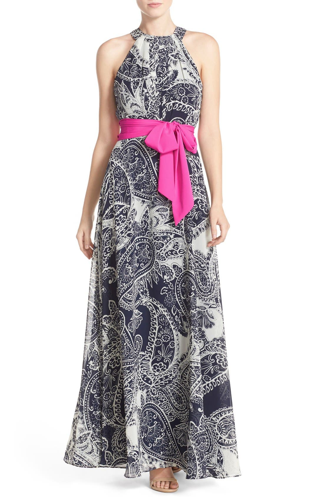 Alternate Image 1 Selected - Eliza J Print Chiffon Maxi Dress