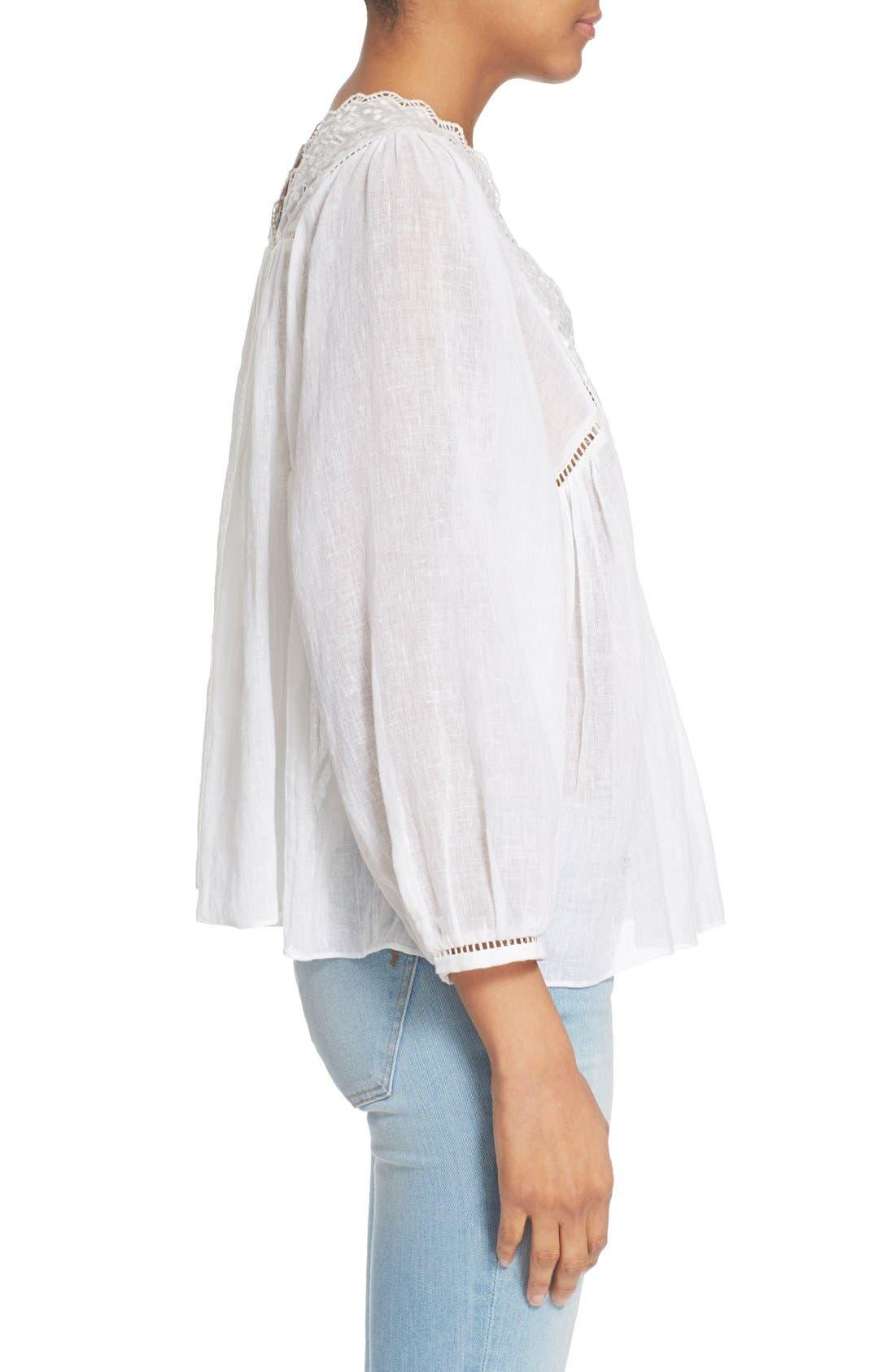 Alternate Image 3  - Rebecca Taylor Lace Trim Woven Peasant Top