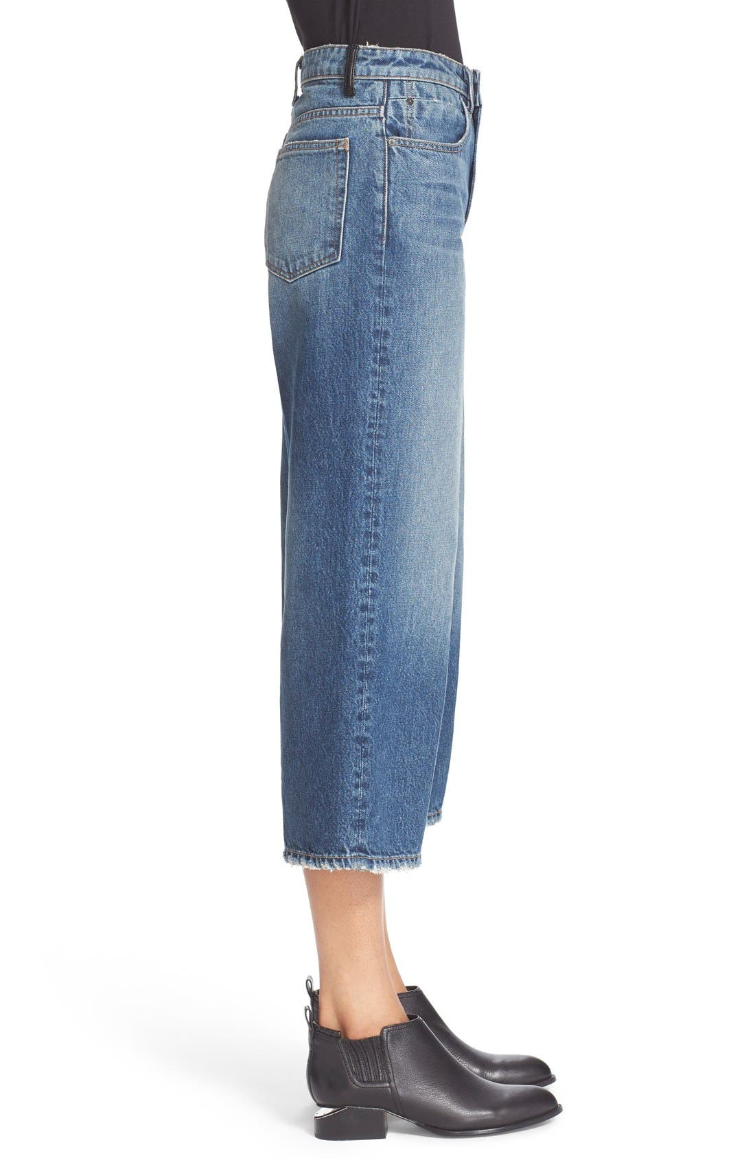 Alternate Image 4  - T by Alexander Wang Drill High Rise Wide Leg Crop Jeans